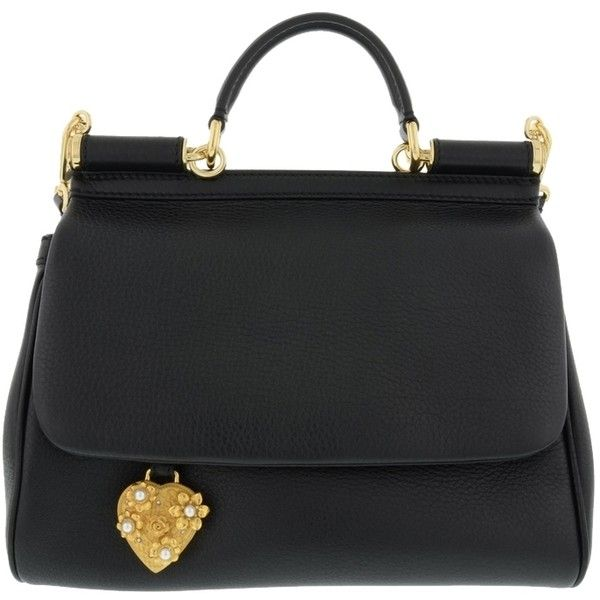 Pre-owned Dolce&gabbana Medium Miss 'sicily' Heart Charm Leather... (6.470 BRL) ❤ liked on Polyvore featuring bags, handbags, shoulder bags, black, tote purses, genuine leather shoulder bag, leather shoulder handbags, genuine leather handbags and genuine leather tote