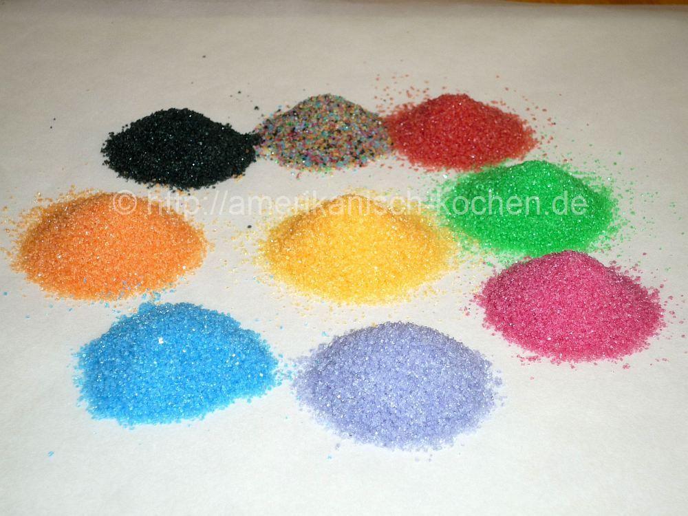 Rezept ZuckerstreuselStreuselGlimmerzuckerGlitzerzucker selber machen How to make Sprinkles Bunter Zucker zB schwarzer Zucke