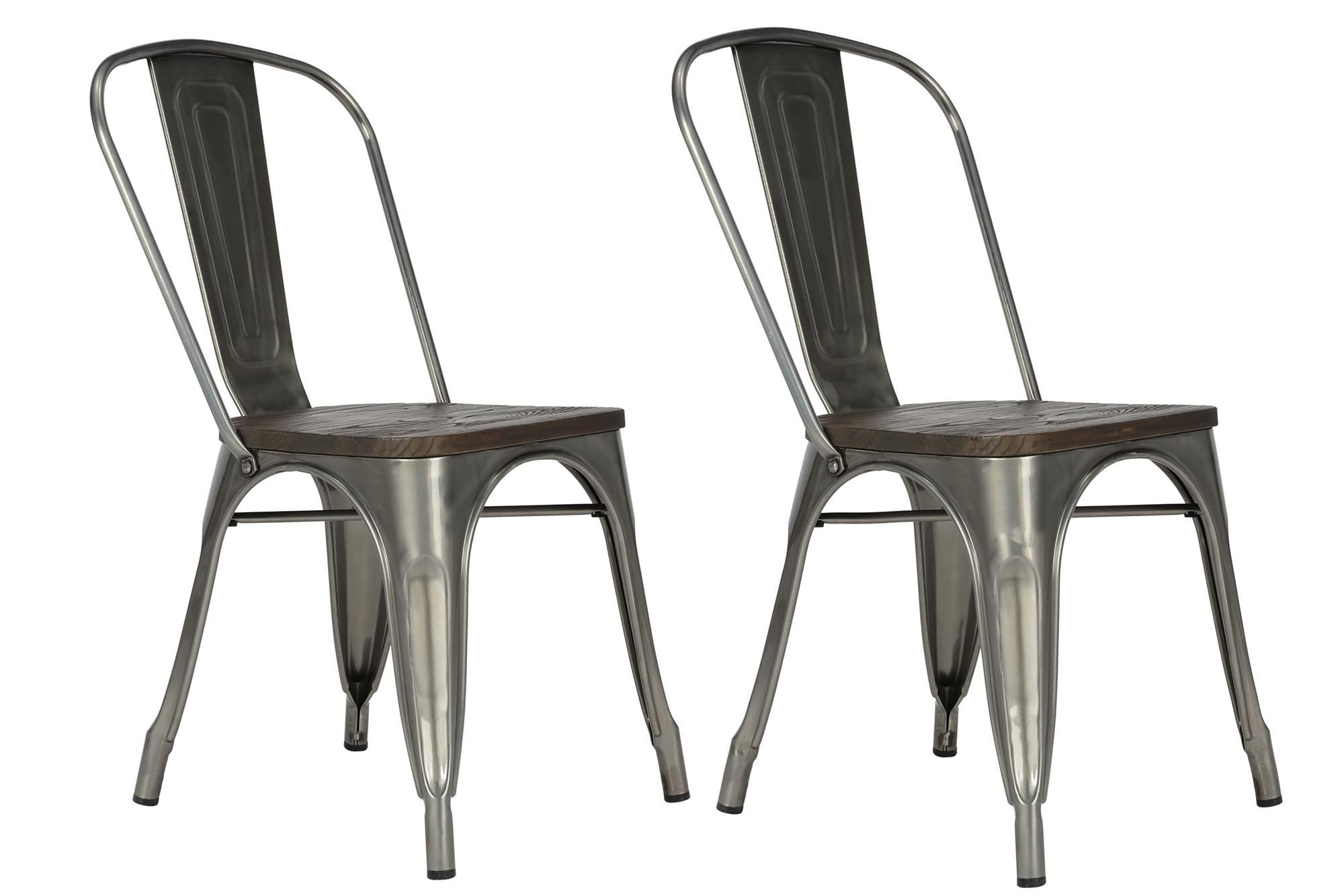 Dorel Home Furnishings Fusion Antique Gunmetal Metal Dining Chair with Wood Seat, Set of 2, Gray