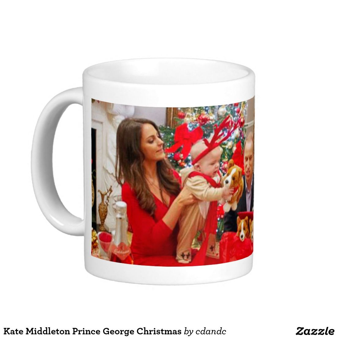 Kate Middleton Prince George Christmas Basic White Mug   -  Visit my Zazzle Store for more Great Gift Ideas - http://www.zazzle.com/cdandc - #royalfamily #british #gifts #will #kate #mug #souvenir
