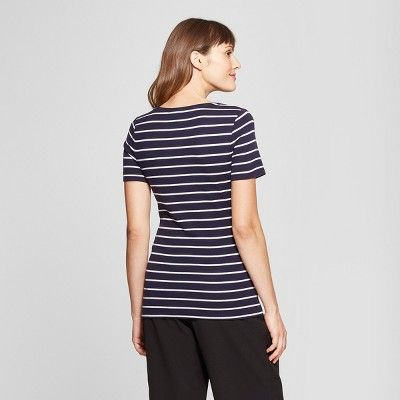 "dd814c1df1 Women's Striped Short Sleeve Fitted Crew T-Shirt - A New Dayâ""?20White/Black  XS #Sleeve, #Fitted, #Short"