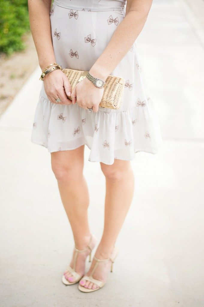 Bow sundress with spring straw clutch-Kacee from Life with Lipstick On