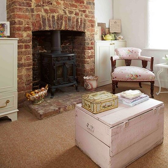 Floating Free Cottage Fireplace Cottage Living Rooms Exposed Brick Fireplaces