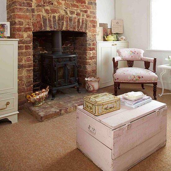 Living room fireplace | Vintage-style Edwardian cottage | House tour ...