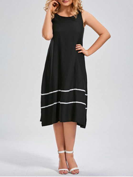 a2ebffa0a0656 AD   Midi Striped Trapeze Tank Dress - BLACK Style  Casual Material  Cotton  Blend Silhouette  Straight Dresses Length  Mid-Calf Collar-line  Scoop  Collar ...