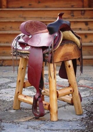 Set Of Two Western Saddle Bar Stools In 2019 Kitchens