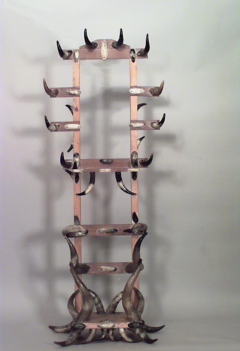 Rustic Horn Antler Hatrack Umbrella Stand Standing Hatrack