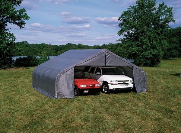 ShelterLogic 22 x 20 x 10 Peak Style Portable Garage Canopy - 78431 & ShelterLogic 22 x 20 x 10 Peak Style Portable Garage Canopy ...