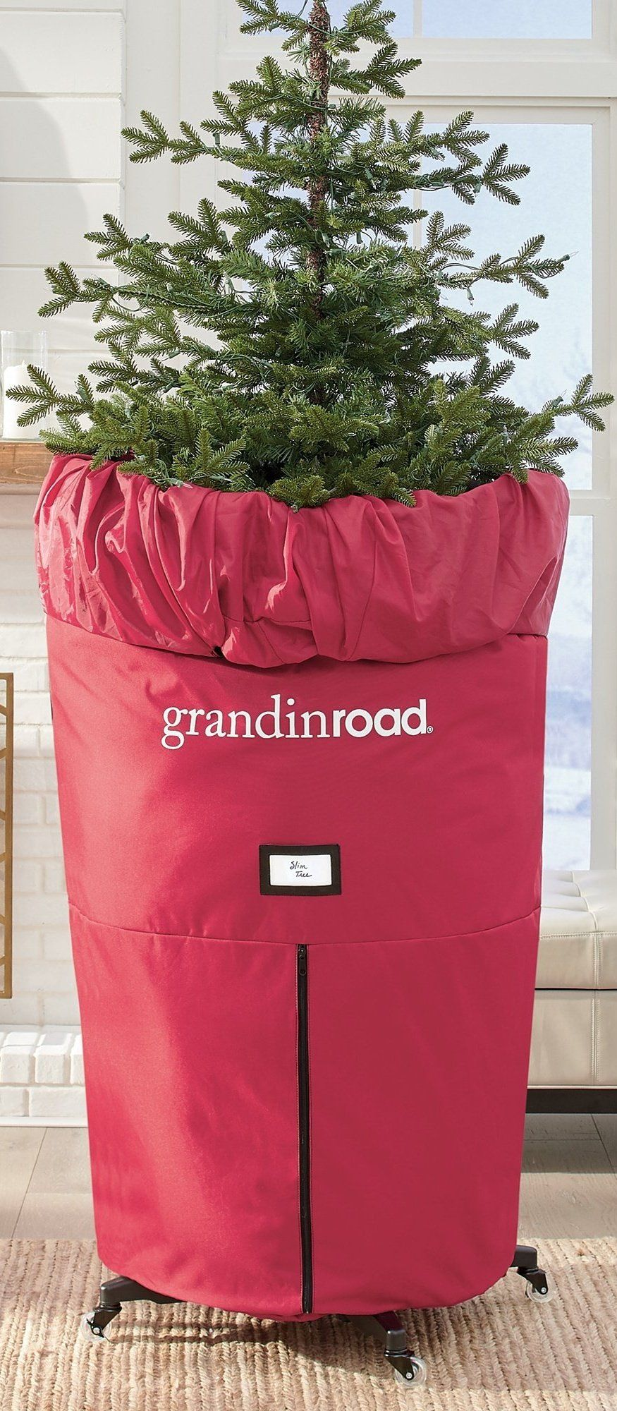 Upright Slim Tree Storage Grandin Road In 2021 Slim Tree Christmas Tree Storage Bag Christmas Tree Storage Christmas tree upright storage bag