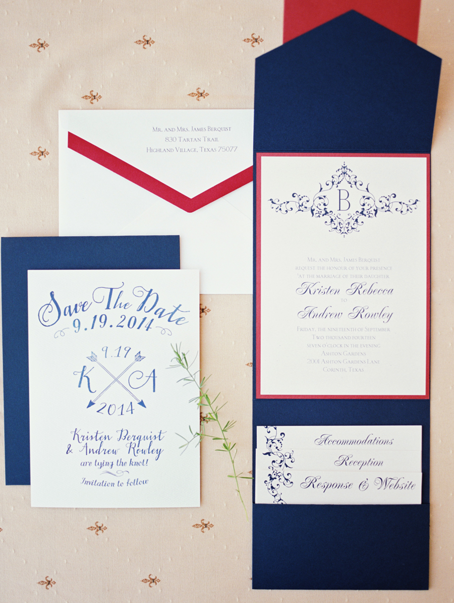Custom red, white, and blue invitations. Photo by Tracy Enoch ...