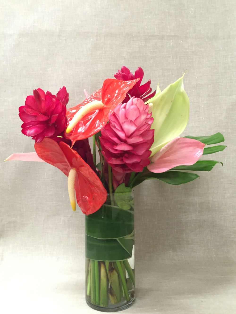 Red pink ginger coral anthurium bright tropical wedding
