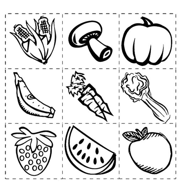 Healthy Vegetables And Fruit Coloring Page For Kids St