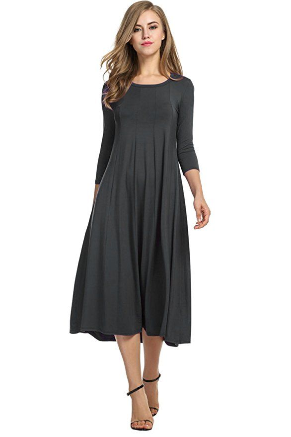 HOTOUCH Women's 34 Sleeve A line and Flare Midi Long Dress