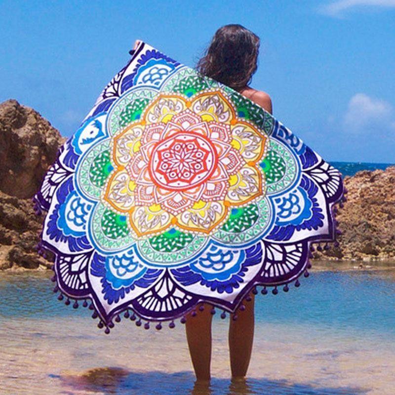 22fca506a5 Indian Mandala Lotus Printed Bohemian Beach Towel | accessories ...