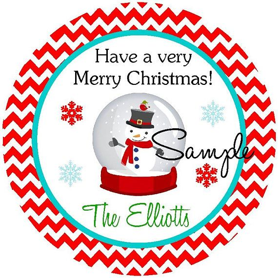 Christmas personalized stickers snowglobe stickers printable