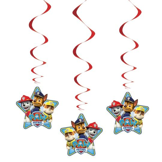 Hanging Paw Patrol Decorations, 3Ct By Nickelodeon in Red   Michaels® - Paw patrol decorations, Paw patrol party decorations, Paw patrol party supplies, Paw patrol, Paw patrol party favors, Hanging decor - Ceiling decorations feature Chase, Marshall and Rubble in a starshaped paper cutout dangling from shiny red foil swirls  With our Hanging PAW Patrol Decorations, you don't need a special Pup Pack to put together an actionpacked party scene  These fun and festive ceiling decorations feature Chase, Marshall, and Rubble in a starshaped paper cut out dangling from shiny red foil swirls  Suspend them over your party space from the ceiling, in a doorway, or along an archway to take your child's PAW Patrol birthday party to heroic heights  Details • Package of 3 Hanging Paw Patrol Decorations • Paw Patrol Hanging Decorations measure 26  long • Fun and colorful decorations for a kids birthday party or PAW Patrol party • Lightweight and easy to hang from the ceiling, in a windows, or over a doorway • Combine these with other PAW Patrol decorations and party supplies   Hanging Paw Patrol Decorations, 3Ct By Nickelodeon in Red   Michaels®