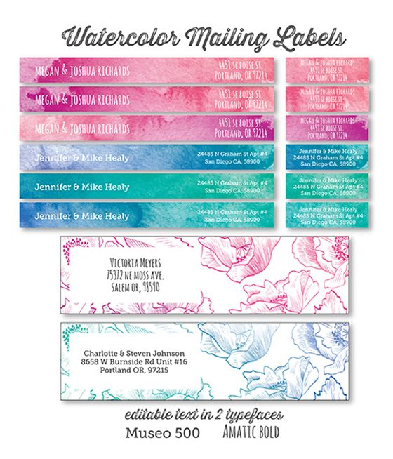 Printable Watercolor and Floral Address Labels Mailing labels - free mailing label
