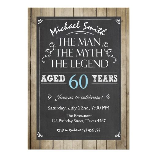 Man Birthday invitation Chalkboard Rustic Adult Men birthday - birthday invitation for adults