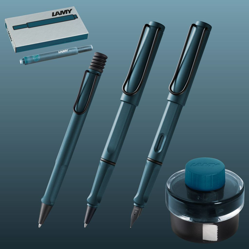LAMY SAFARI PETROL BLUE BLACK TRIM BALLPOINT PEN-GERMANY-BLUE INK-NOS.