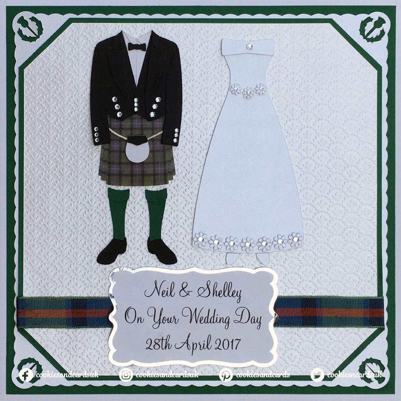 Personalised Scottish Wedding Card Kilt Mr /& Mrs Newlyweds Couple