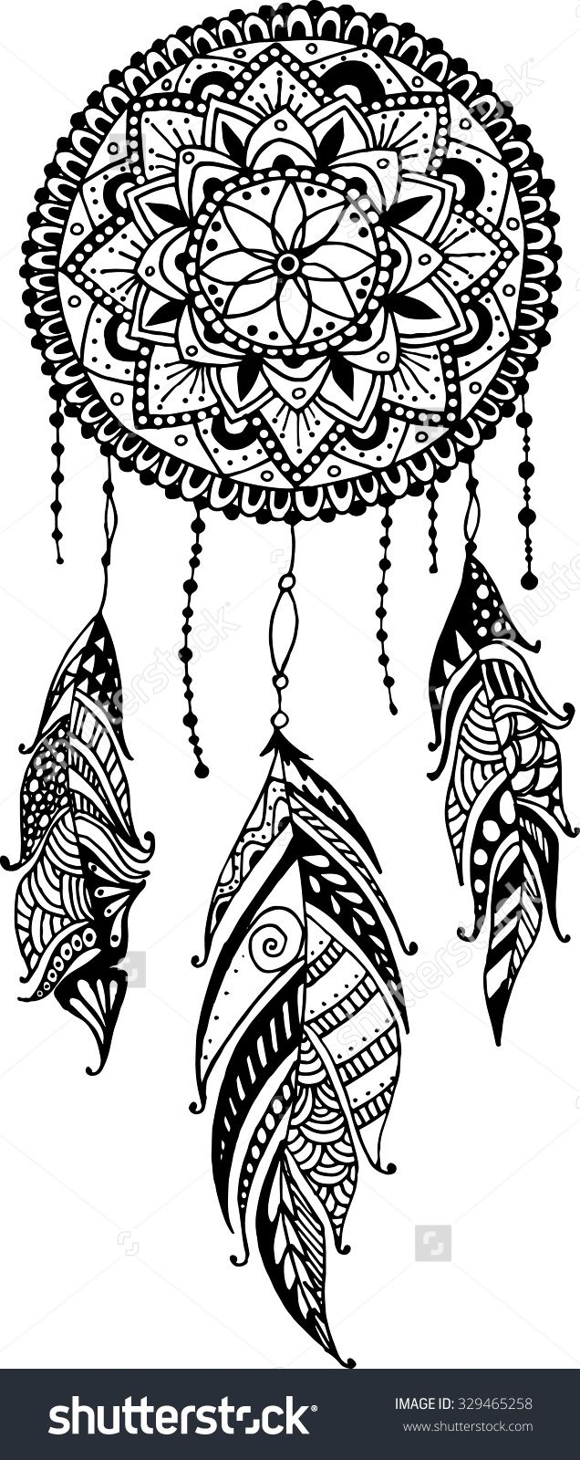 Coloring pages dream catchers - Mandala Dreamcatcher Feathers Tribal 329465258 Shutterstock