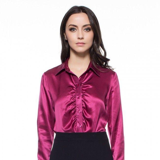 9ef8557292e9c Bright  Purple Silk Blouse for Women Long Sleeve Tucking Front - -  Silk   Blouse