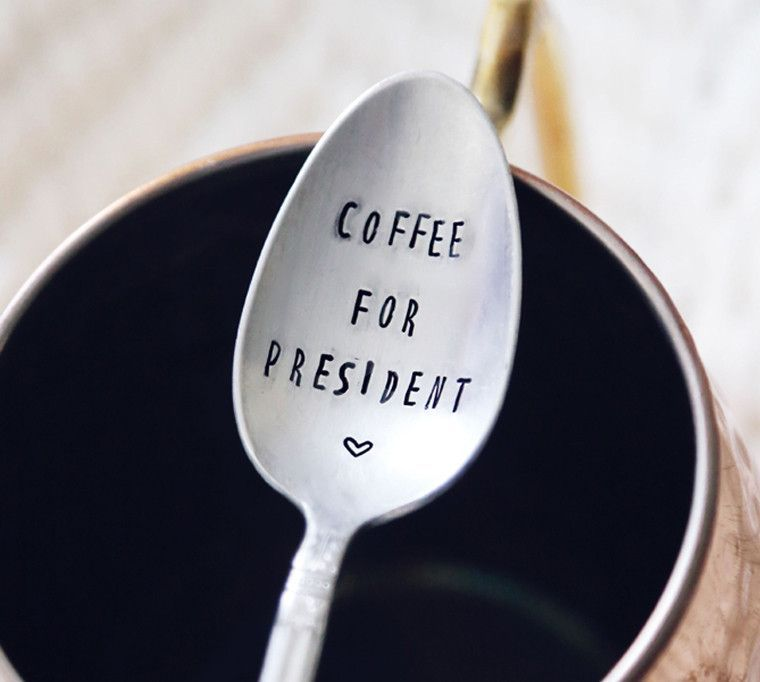 coffee drinkers make better lovers Valentines Day gift Handstamped vintage coffee spoon