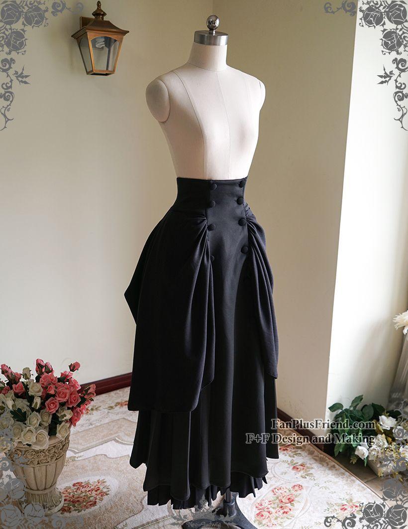 a94dcf0d73 Steampunk Maxi Skirt High Waisted Skirt Victorian Bustle Skirt Black ...