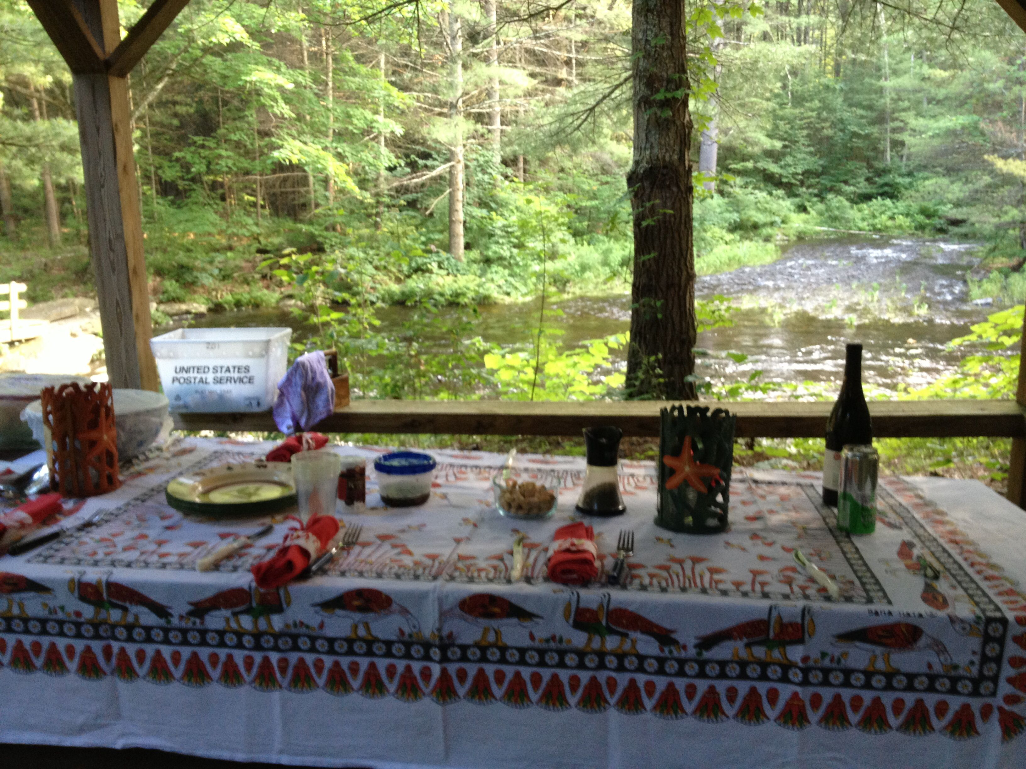 Stream side picnic.
