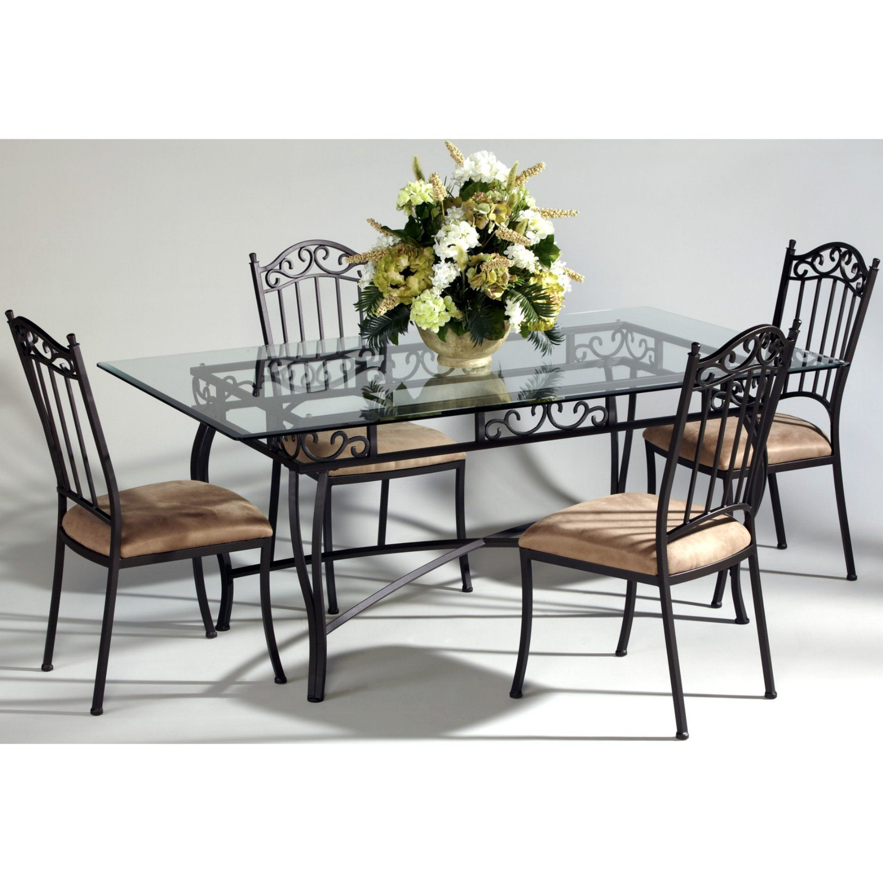 Chintaly Bethel Rectangular Wrought Iron Dining Table With Glass
