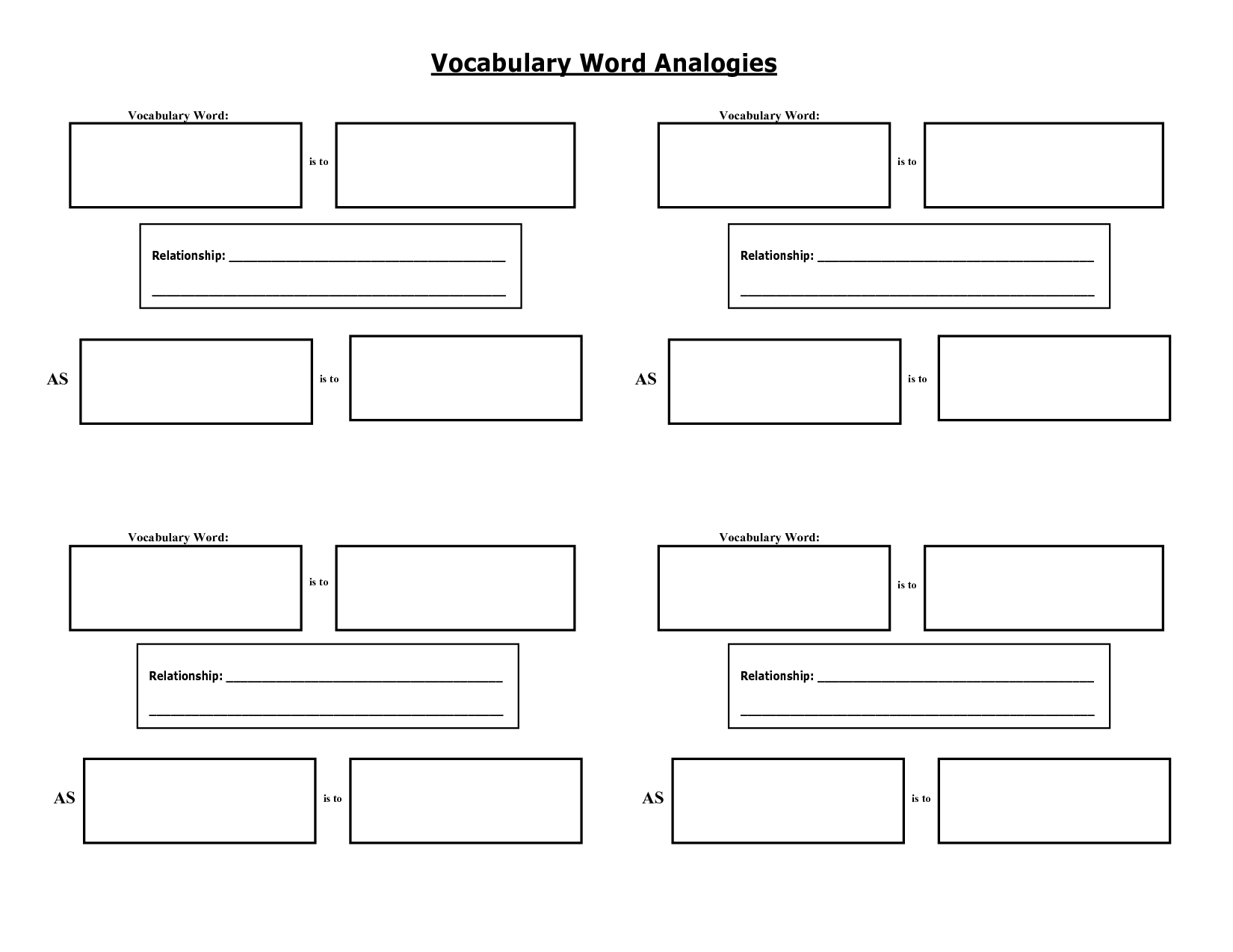 Vocabulary Word Graphic Organizer  Word Work
