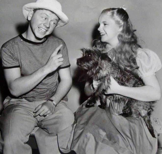 Mickey Rooney visiting Judy Garland and the dog Terry on the set of The Wizard Of Oz (1939).