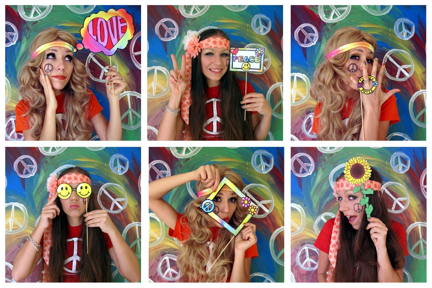 The hippie photo booth props for a sixties party or flower power ...