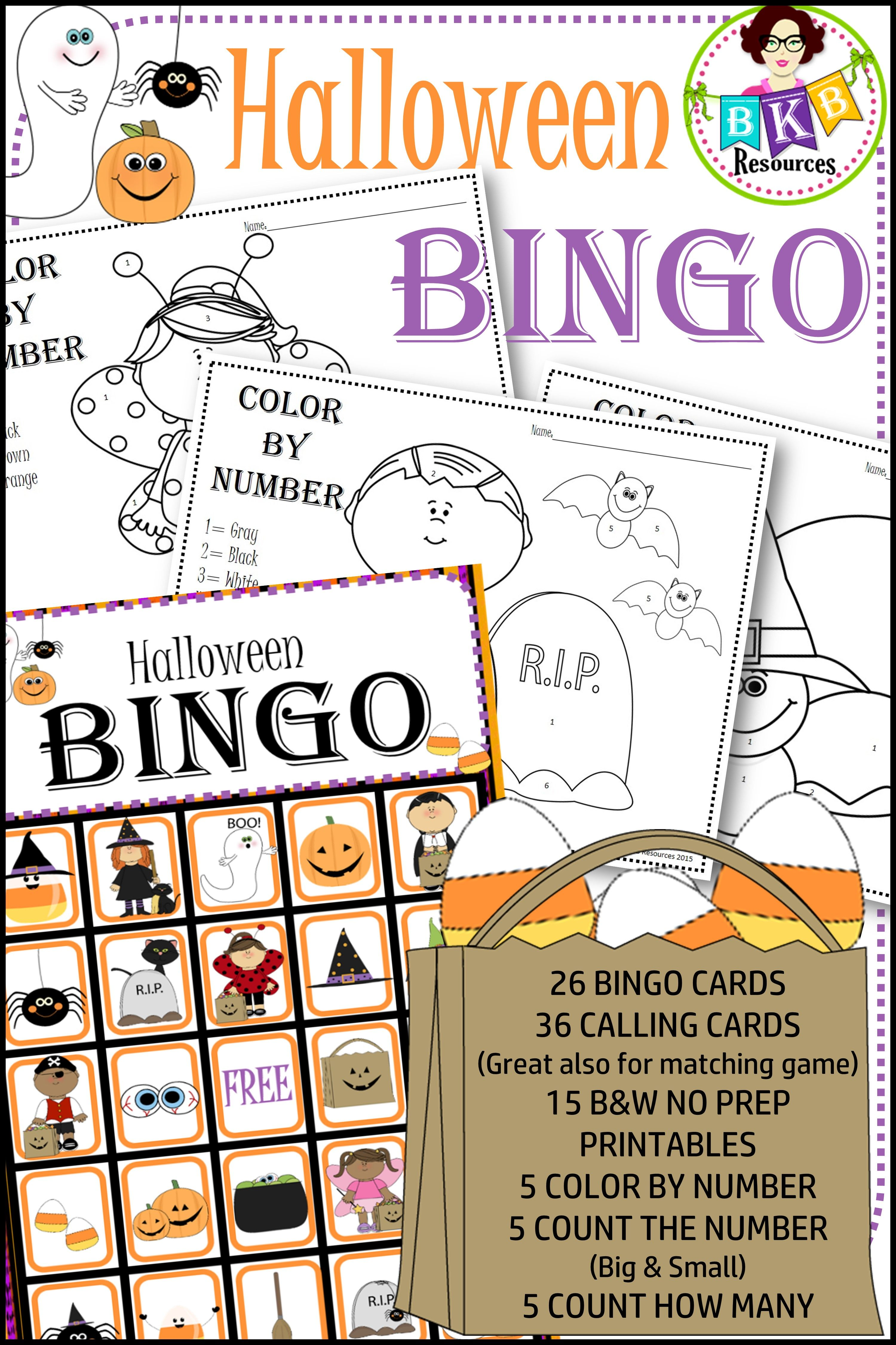 Halloween Bingo Halloween Math Games No Prep Printables