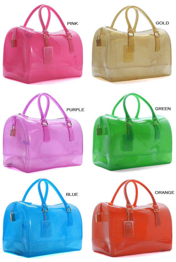 Nib Glitter Candy Jelly Bag Tote Transpa Padlock Boston Purse Fashionhandbag Totespers