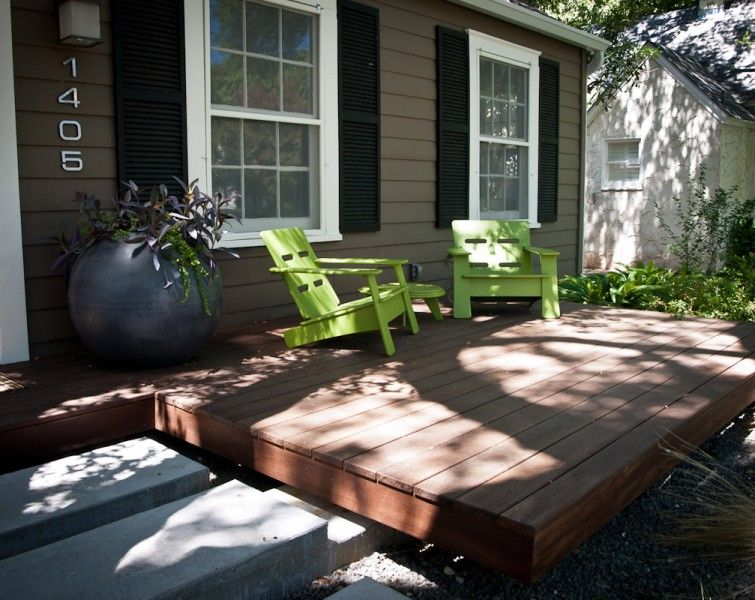 Front Patio Landscaping | Fully Integrated Front Yard Landscape Floating Front  Yard Wood Deck .