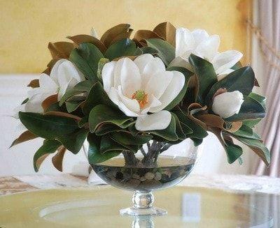 Magnolia Leaf In Bowl Dp748 Whgr Magnolia Centerpiece Flower Arrangements Flower Arrangements Diy