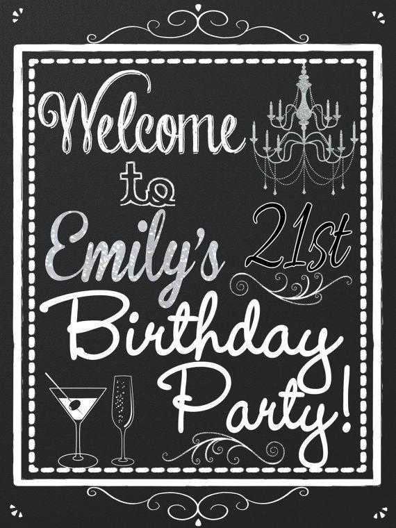 21st birthday ideas, 21st birthday party decorations, custom 21st birthday sign, birthday party welcome sign chalkboard style, SGNADL01 #21stbirthdaysigns