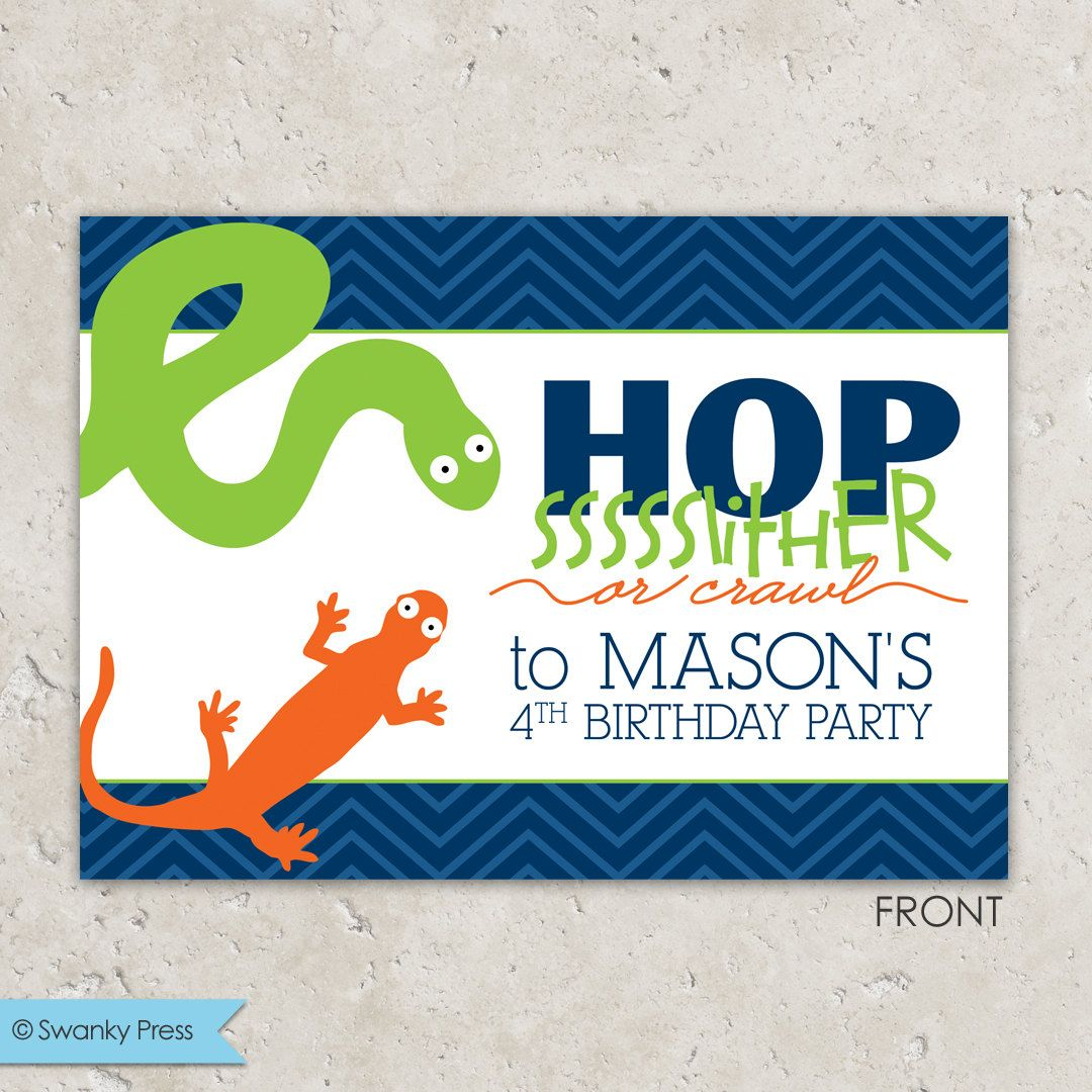 Reptile Party Invitations snake and lizard by swankypress on Etsy