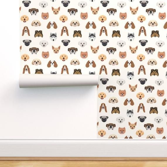 Dogs Wallpaper  Many Dogs  White Background by designtherapy  Pet Illustrations Animal Bulldog M Source by etsy dog dog memes dog videos videos wallpaper dog memes dog qu...