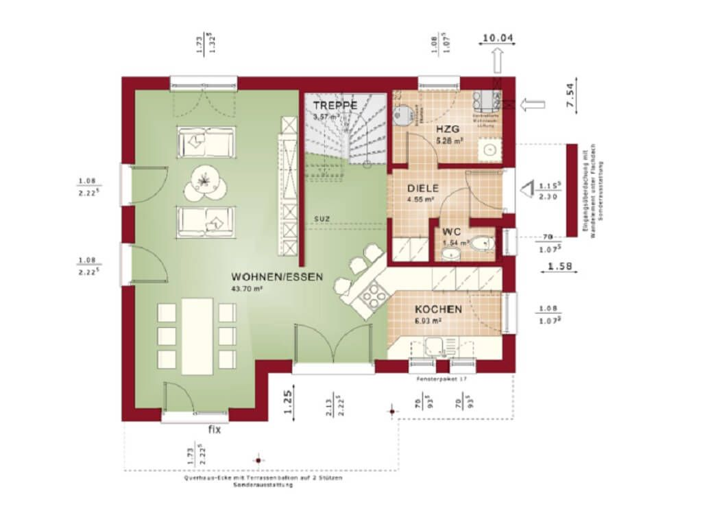 Grundriss Haus Evolution 122 V13_Bien Zenker_Erdgeschoss Wohnzimmer - offene kuche wohnzimmer grundriss