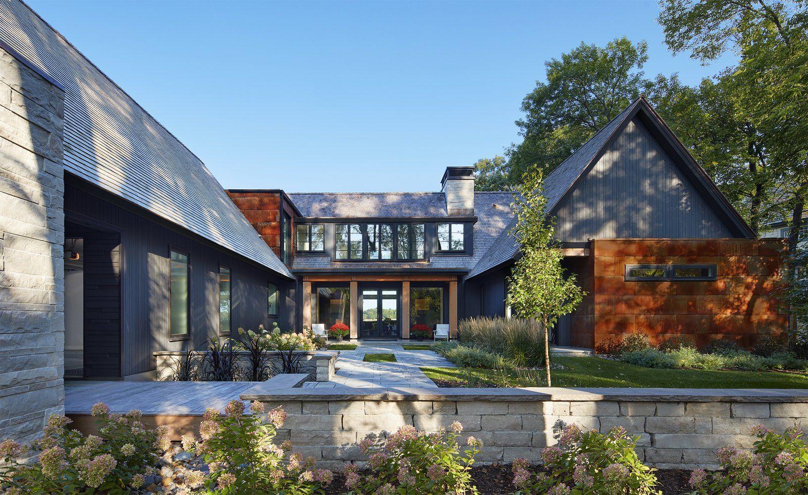 Modern Salt Box By Charlie Co Design House With Porch Modern Mediterranean Homes Pavilion Design