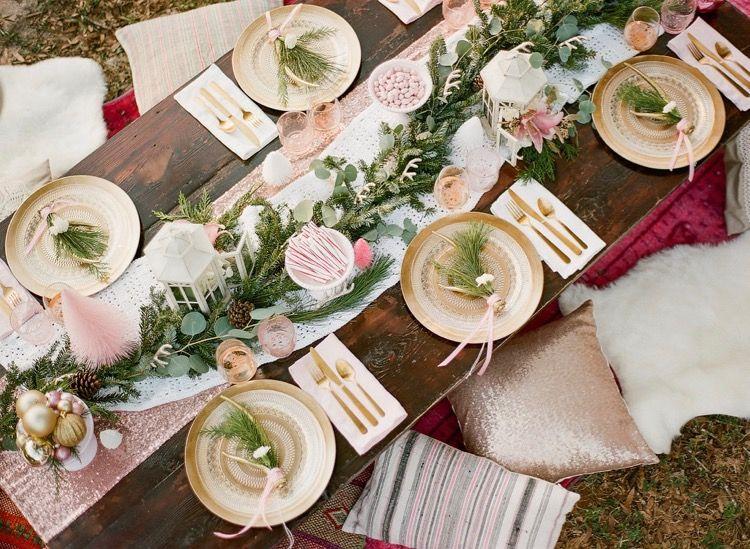 Pink Boho Christmas Gathering Pink Hot Cocoa Pink Christmas Table Pink Christmas Table Setting Rose Gold Christmas Table