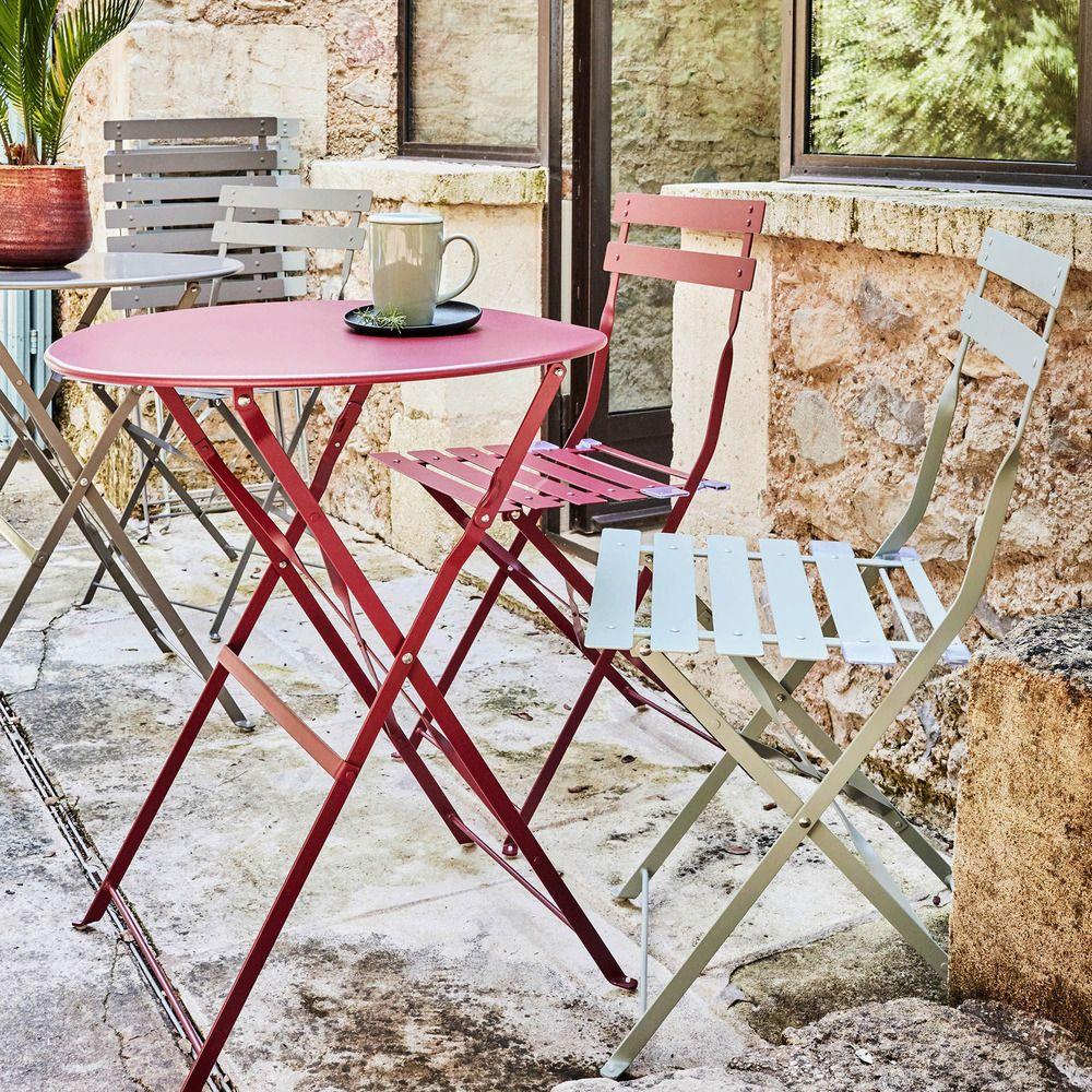 Table De Jardin Pliante Rouge Sumac D60cm 2 Places Alinea