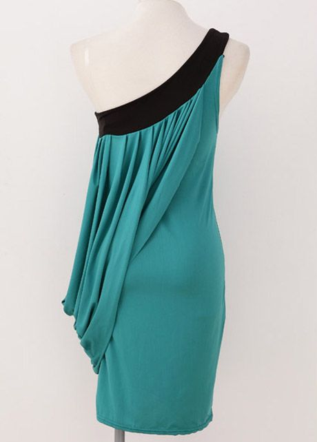 One Shoulder Sleeveless Ruched Midi Dress