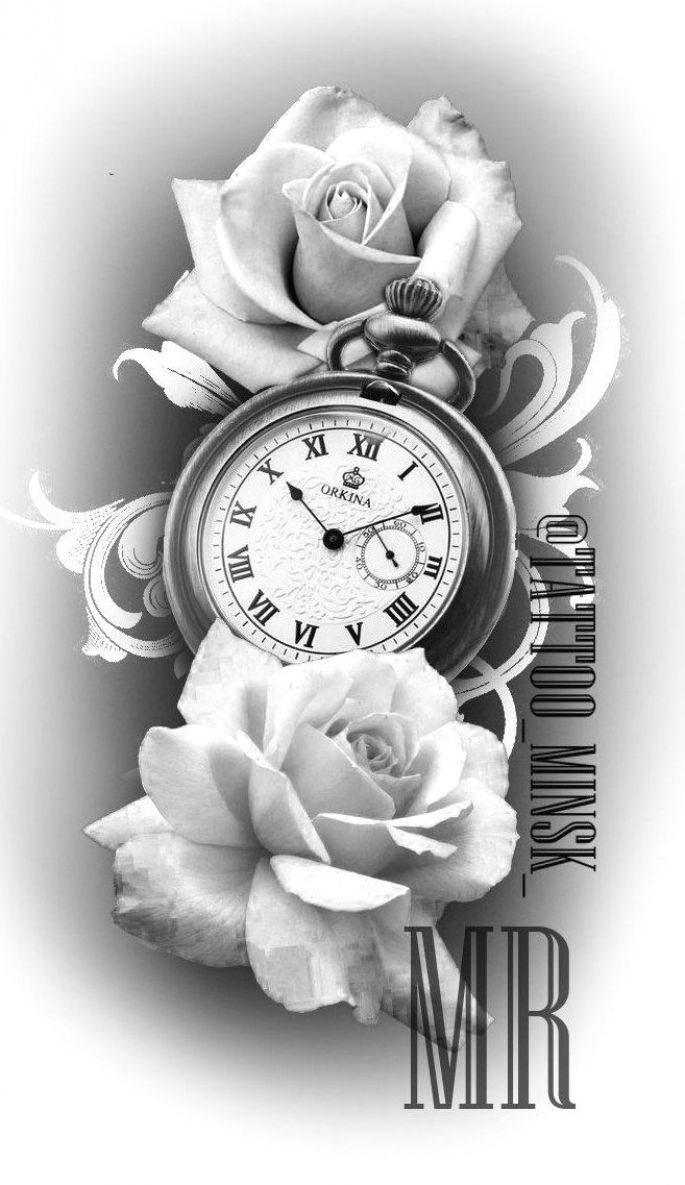 pocket watch and rose tattoo design