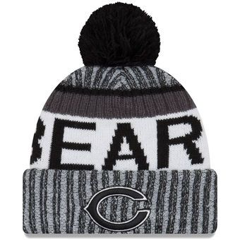 6f380dce6 Men's Chicago Bears New Era Black/White 2017 Sideline Cold Weather ...