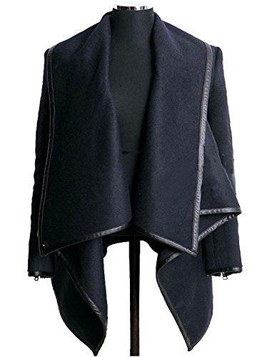 Veste Bleue Foncée Asymétrique Elégant Chic Unique Cool à la Mode en Couleur Pure d'Ourlet Irrégulier au Col Debout en Laine Street-Style Manteau