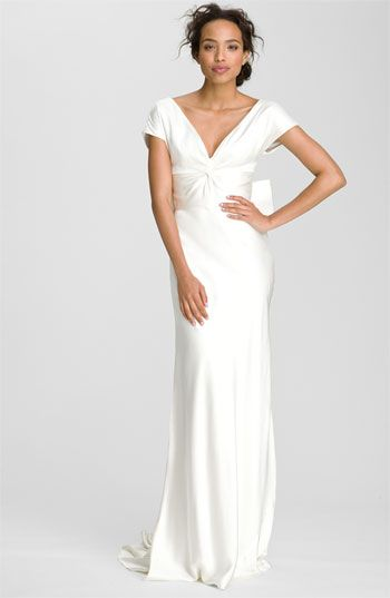 Nicole Miller Knot Front Double Face Silk Gown
