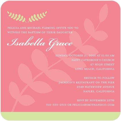 Baptism, Christening Invitations - Fresh Fern Pink by Tiny Prints - fresh birthday party invitation designs